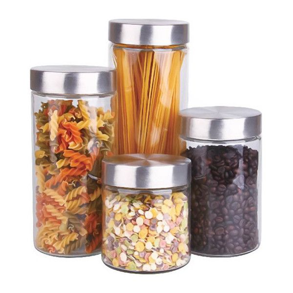 Glass Canister Set With Stainless Steel Lids, Set of 4 - Contemporary... ❤ liked on Polyvore featuring home, kitchen & dining, food storage containers, lidded glass jars, glass food storage containers, stainless steel canister set, glass canister set and stainless jar