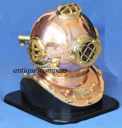 Collectible Shiny Brass & Copper Finish - US NAVY MARK V Divers Diving Helmet