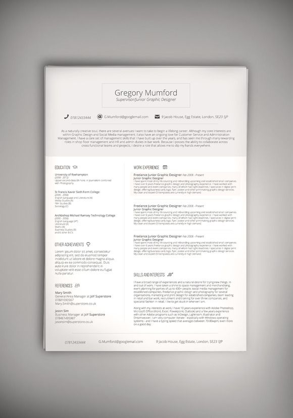 24 best CV, Resume \ Cover letter designs images on Pinterest - cv and resume
