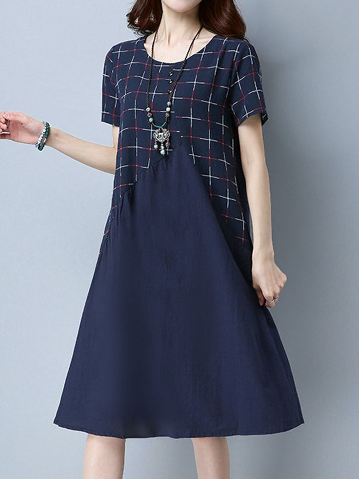 Vintage Women Short Sleeve Patchwork Pocket Dresses
