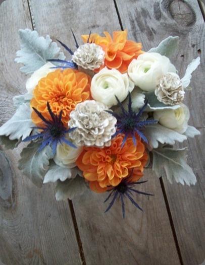 pretty orange and blue bouquetPretty Orange, Dusty Miller Not, Colors, White, Orange Flowers, Blue Bouquets, Floral, Blue Thistles, Orange Dahlias