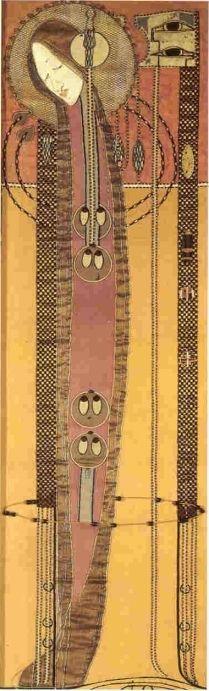 Margaret Macdonald Mackintosh (1865-1933) - Embroidered & Appliqued Panel. Circa 1902.