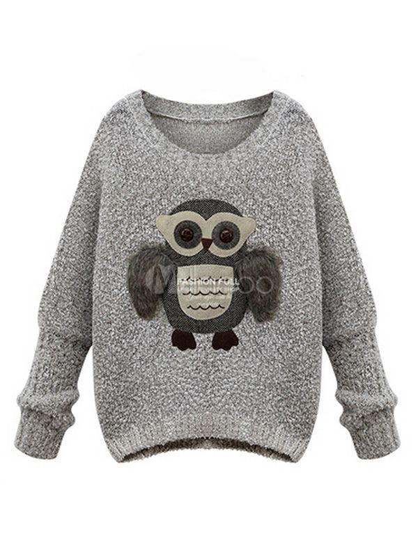 Long Sleeve Owl Print Knitted Pullover - Milanoo.com