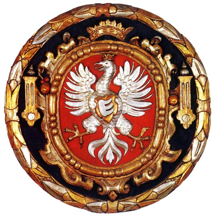 Wooden cartouche with Polish Eagle and Stephen Báthory's crest (three teeth) by…