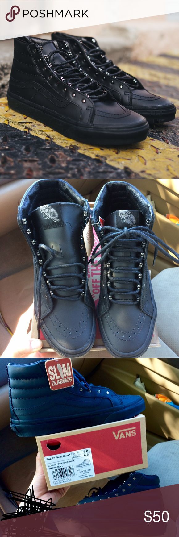 SALE! New! Vans Sk8-Hi Top Leather Rivets RARE! 2 different sizes available!    Never worn! Great condition as pictured above! *Genuine Leather! 😳   Comes with the original box and two extra sets of shoe laces & stickers! 💰😉 Even with shipping this is a great deal!! Vans Shoes Sneakers