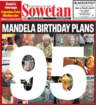 The Sowetan front page.