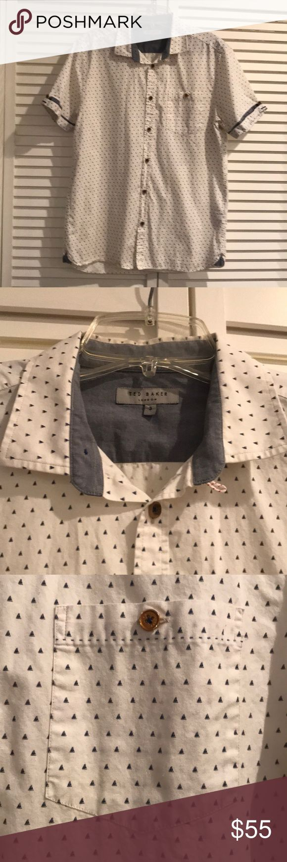 Ted Baker men's short sleeve button down Ted Baker men's short sleeve button down. Excellent like new condition. Worn only once. Ted Baker Shirts Casual Button Down Shirts