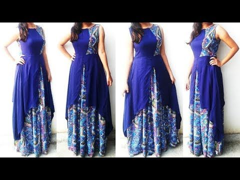 01eddce463 DIY Designer Frontslit Long Gown Maxi Kurti Dress Cutting And Stitching  Tutorial - YouTube