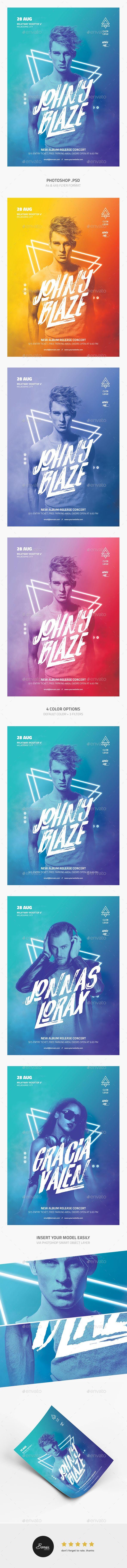 DJ Concert Flyer — Photoshop PSD #photoshop #electonic dance music • Available here → https://graphicriver.net/item/dj-concert-flyer/19673649?ref=pxcr