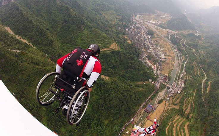 Lonnie Bissonnette wheelchair base-jumping, despite being unable to walk or use his left arm because of a previous base jump accident