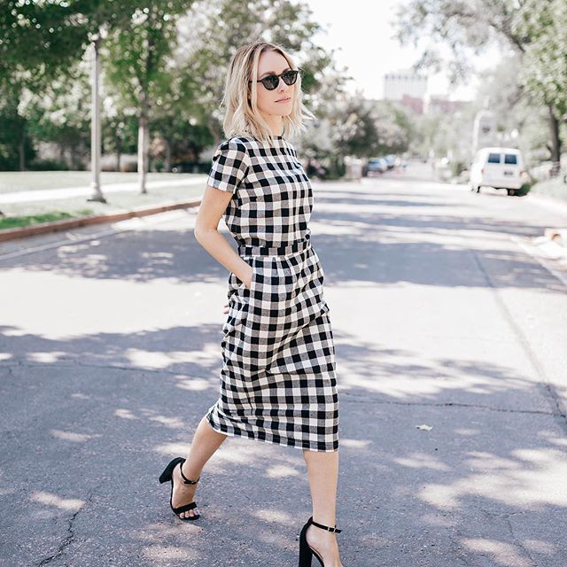 Buffalo Check Top paired with our buffalo check pencil skirt. Love!