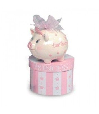 """Product Description Save for a rainy day or a royal treat. These adorable banks are an unexpected twist on the tried-and-true piggy banks, with painted detailing, tiny crowns, and easy access to saved-up allowanced through the rubber-stopped opening. Princess version features a billowing ribbon tied on top. Comes in a satin-lined, decorative hatbox tied with a satin bow. Glazed ceramic. 5-1/2Hx6Wx4-1/2D""""."""