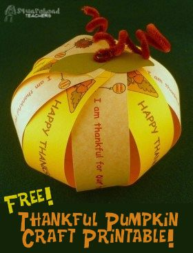 Squarehead Teachers: Thankful pumpkin craft... with FREE printable! Great for family night or class activity!