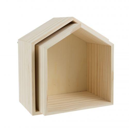 2 étagères maison 22,5x20 cm - Loisirs Créatifs Supports Bois - Cultura
