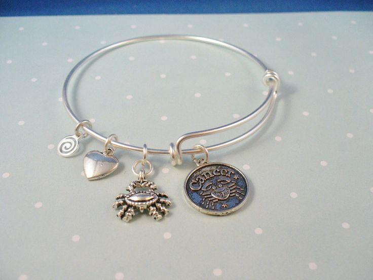 Cancer Zodiac Silver Bangle Bracelet, Alex and Ani Inspired, Zodiac Sign of Cancer by DesignsBySuzze on Etsy https://www.etsy.com/listing/189741829/cancer-zodiac-silver-bangle-bracelet