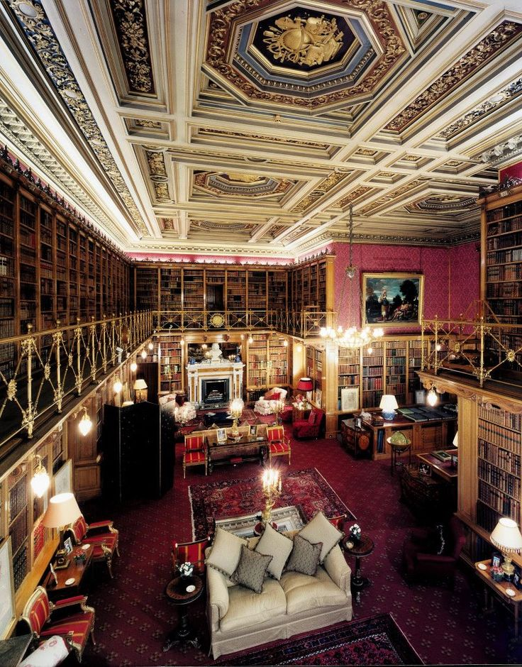 The Library of Alnwick Castle, Northumberland, England.