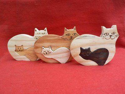 Artesanato Paraty - Artesanato em madeira: Gato 003 9x11cm R$ 14,00