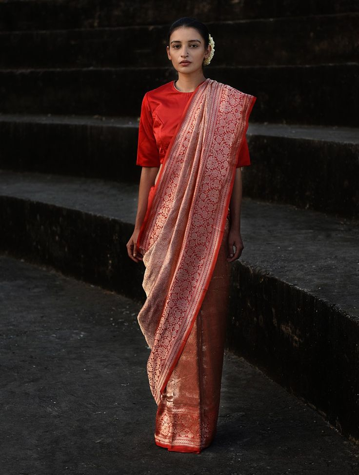 Buy Red Handwoven Benarasi Silk Saree the cabal Eclectic Motifs Woven into Timeless Silks Online at Jaypore.com