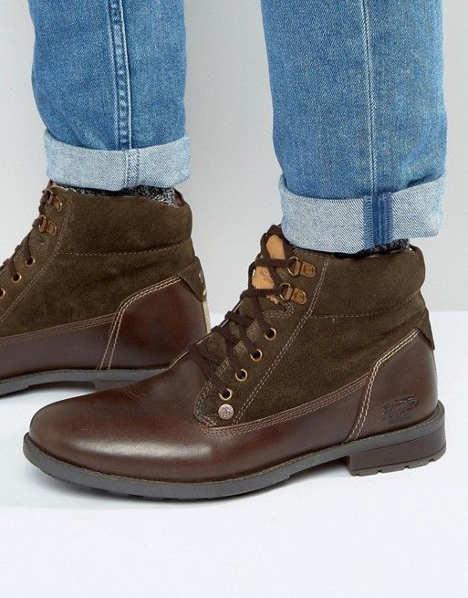 Original Penguin | Коричневые кожаные ботинки на шнуровке Original Peguin
