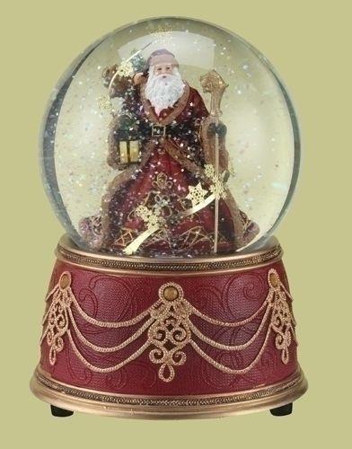 Musical Snow Globes   Musical Snow Globe Santa We Wish you a Merry Christmas Glitterdome ...