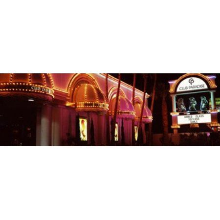Strip club lit up at night Las Vegas Nevada USA Canvas Art – Panoramic Images (36 x 12)