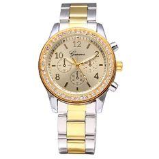 Geneva Women's Silver Stainless Steel Band Watch 5800
