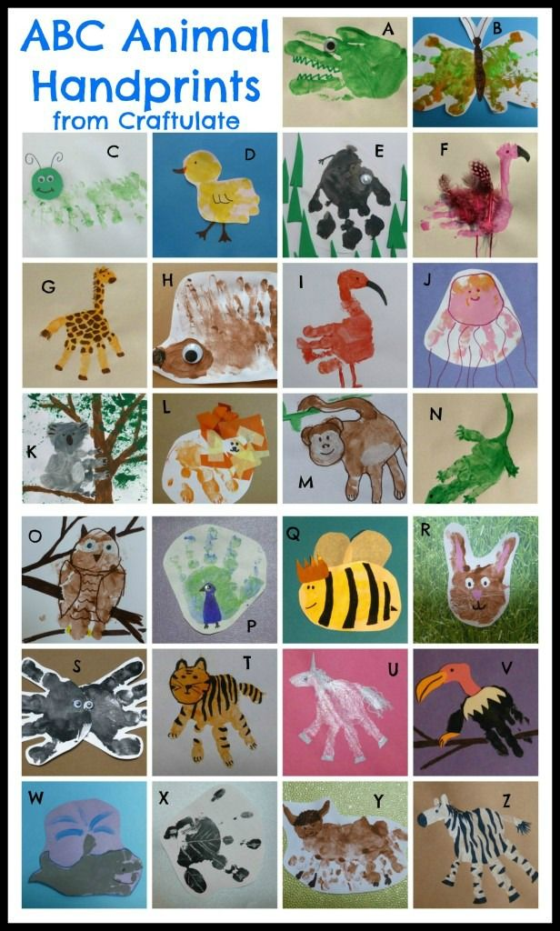 ABC Animal Handprints- One for every letter of the alphabet! From Craftulate