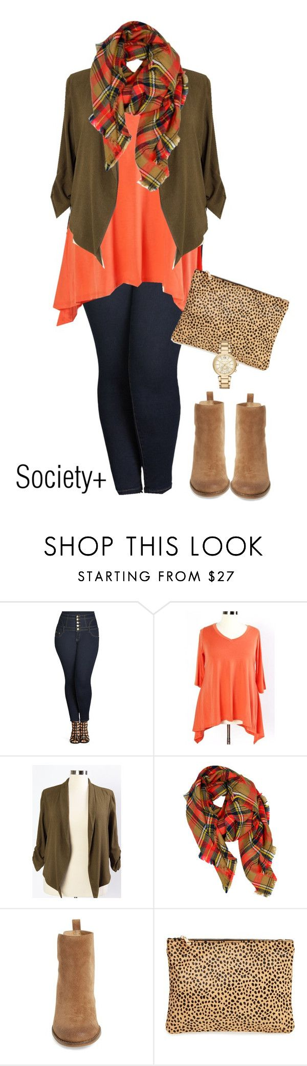 """Plus Size Orange Top - Society+"" by iamsocietyplus on Polyvore featuring City Chic, LA77, Lucky Brand, Sole Society, Michael Kors, plussize, plussizefashion, societyplus and iamsocietyplus"