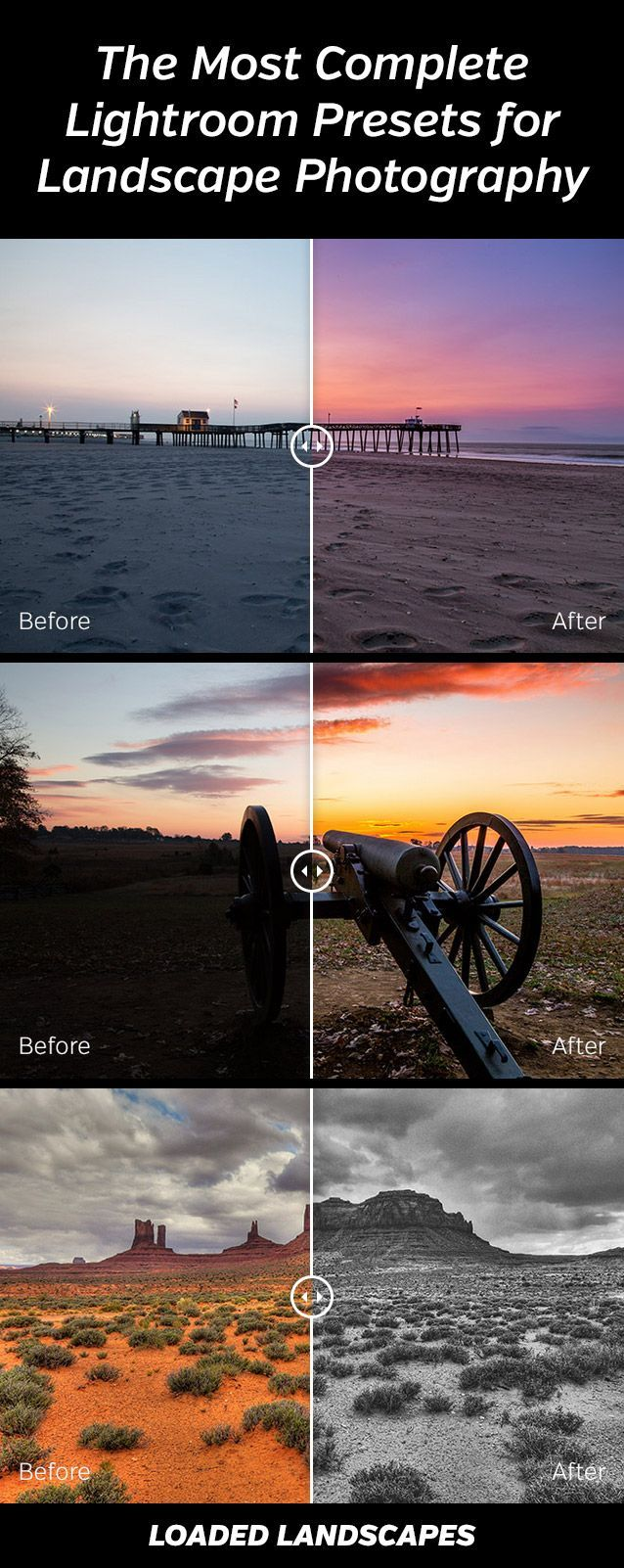 Landscape Legend Lightroom Presets - created specifically for landscapes and nature photos. 100 one-click presets plus extensive collection of workflow presets.