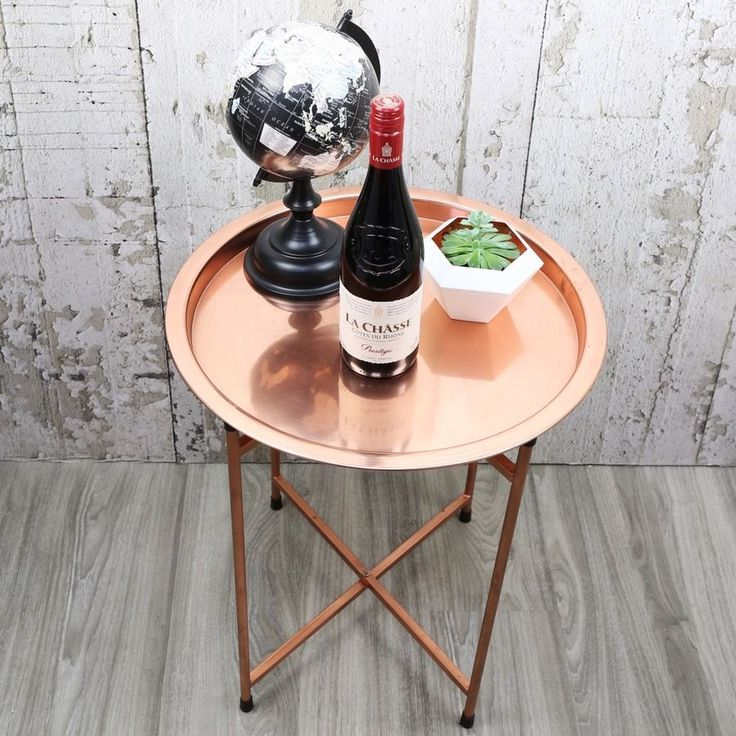 Round Copper Coffee Table Contemporary Furniture Modern Decor Home - Free P&P | eBay