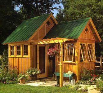 This is the cutest little garden shed I have ever seen! gardening-and-outdoor-spaces