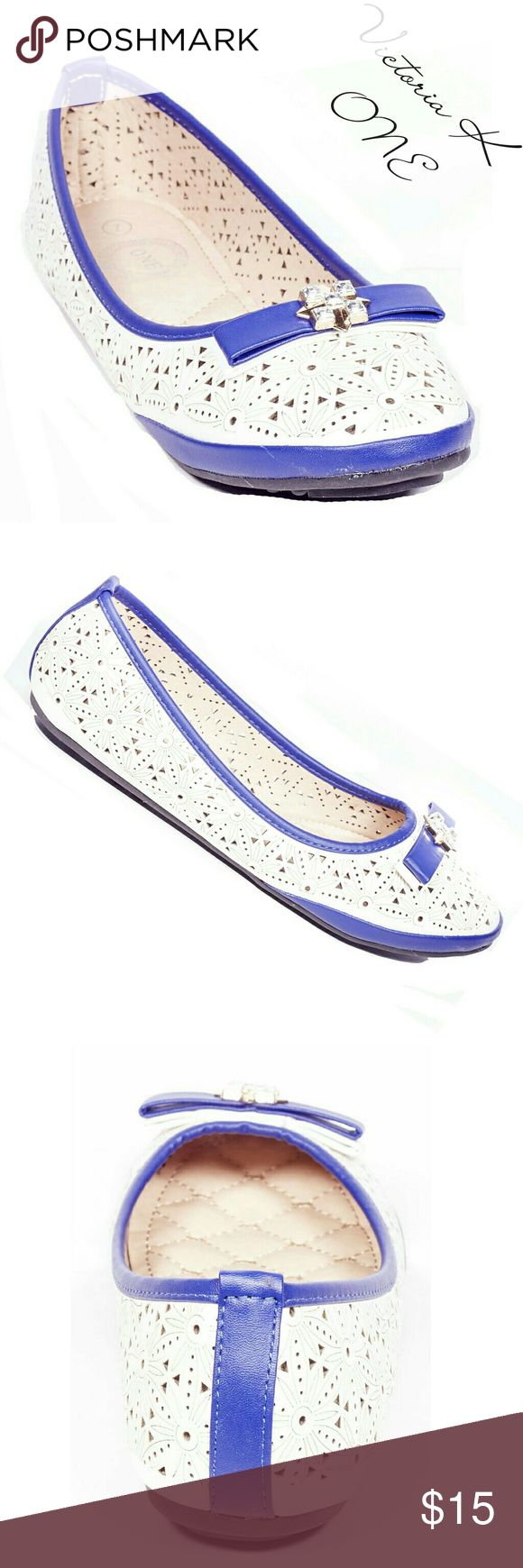 """Women Ballerina Flats with Bow, b-2094, Beige Blue Brand new style! Victoria K perforated two-color, beige and blue, woman ballerina flats with a sparkle-studded bow in the front. From the ONE collection. Soft sole, very comfortable. Bubbled bottom sole for extra traction. A true staple in ladies shoes fashion! Measurements: size 7 measures 9.5"""", sz 7.5 - 9 3/4"""", sz 8 - 10"""", sz 8.5 - 10 1/4"""", sz 9 - 10.5"""", all half sizes are in 1/4"""" increments of each other. Tory K  Shoes Flats & Loafers"""