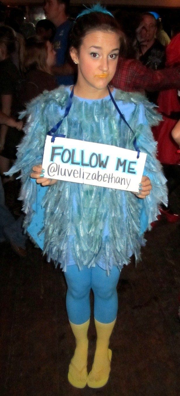 Twitter Bird costume- Blue t-shirt, dyed blue feathers, leggings, yellow socks, and flip flops!