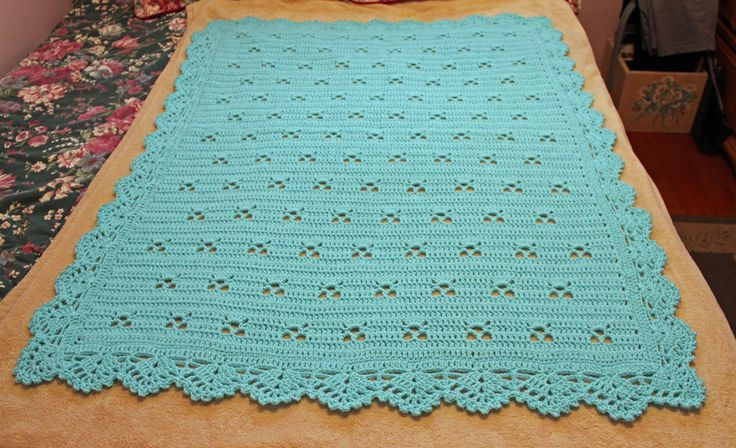 Beautiful aqua blue baby blanket, blue crocheted baby blanket, baby boy blanket, gorgeous scalloped border by KEEPSAKESBYLESLIE on Etsy