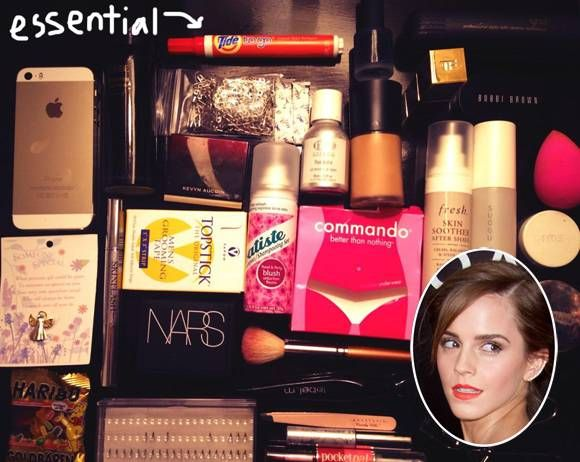 Emma Watson Has Spare Underwear & Men's Toupee Tape In Her Purse! What The What?!