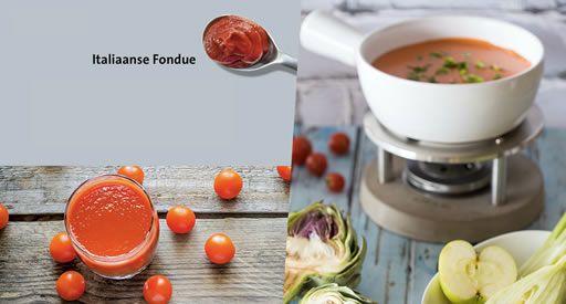 Emmi | recepten met kaasfondue | Italiaanse fondue  Voeg tijdens het verwarmen aan Emmi kaasfondue Family, Le Gruyère of Original 1 tot 2 eetlepel(s) tomaten puree, een scheutje tomatensap en fijngesneden verse basilicum toe.