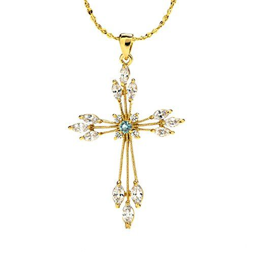 "Snowflake CZ Cross Pendant Necklace in box, 24K Overlay, Tarnish-Resistant, WARRANTY by Lifetime Jewelry. ► Gorgeous Cubic Zirconia Cross Pendant Necklace 17.5""-18"". 100% UNCONDITIONAL FREE LIFETIME REPLACEMENT GUARANTEE ON ALL LIFETIME JEWELRY(TM)! In business since 1978!. ►Real 24 Karat gold, laid over a heart of semi-precious metals, Tarnish Resistant. 20mls of 24 karat gold per item - 10 times more gold than in the cheaper electroplate that changes color quickly. ►Crazy low Amazon…"