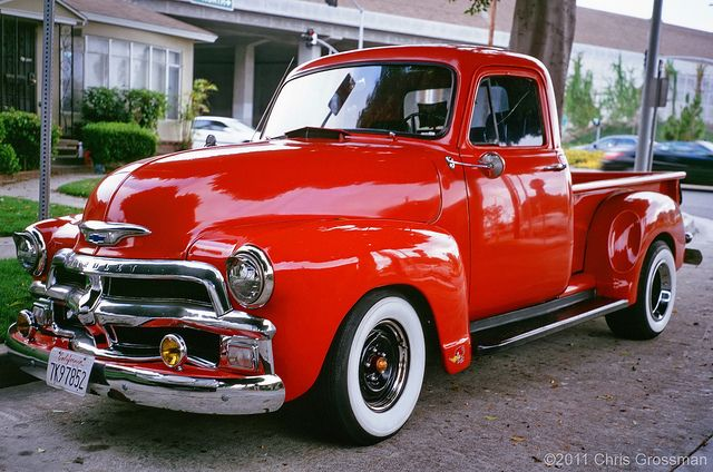 antique pickup trucks | 1954 Red Chevy Pick-up Truck - GA645zi - Astia 100 | Flickr - Photo ...
