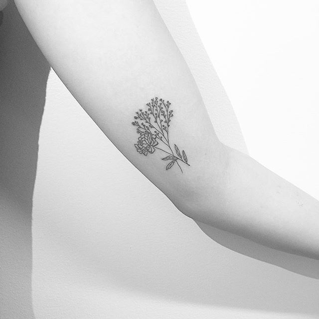 Peony//BabysBreath #jonboytattoo Peony tattoo