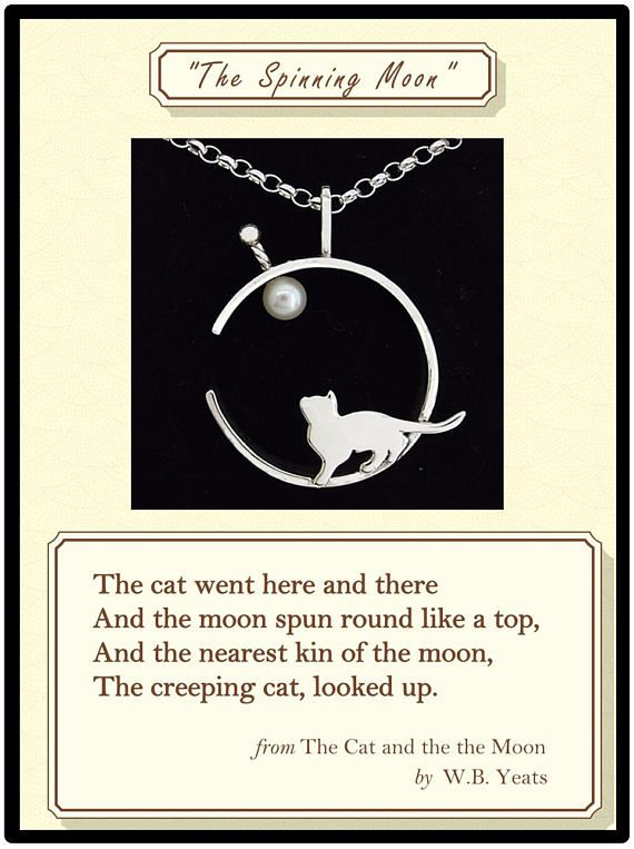 Silver Pendant Cat Moon Pearl Gift For Girlfriend W B Yeats Poetry Literary Gift For Cat Lovers Pendant With Cat Lover Gifts Cat Pendants Pearl Gifts