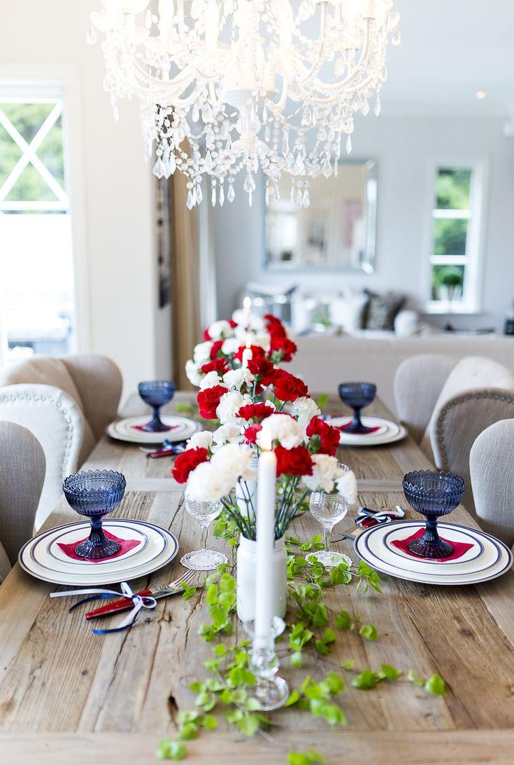 17.mai dekket bord - Røde og hvite nelliker