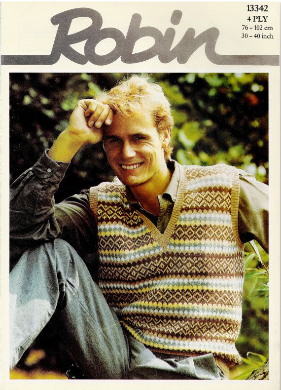 This is a PDF download of an original 1980s knitting Pattern.    Robin Fairisle Tanktop / Slipover Knitting Pattern ref 13342.