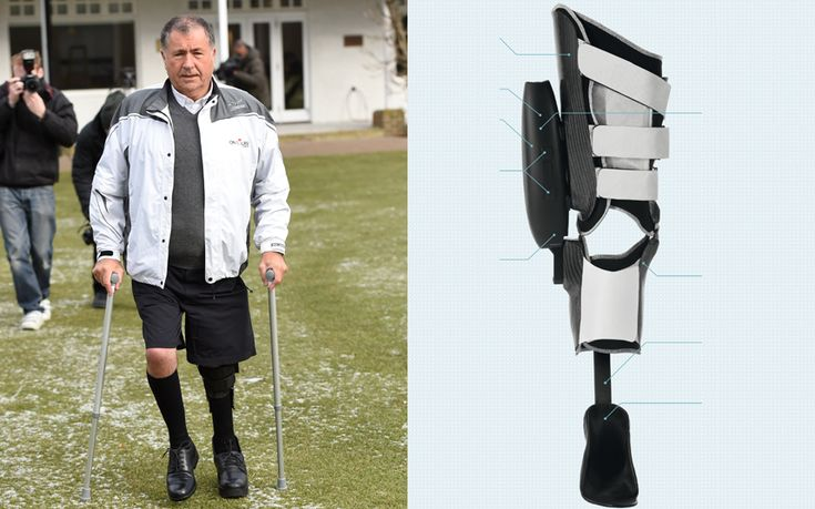 John Simpson , who has managed sportsmen including Nick Faldo, Greg Norman and   Sebastian Coe, becomes first to wear lower limb brace controlled by Bluetooth