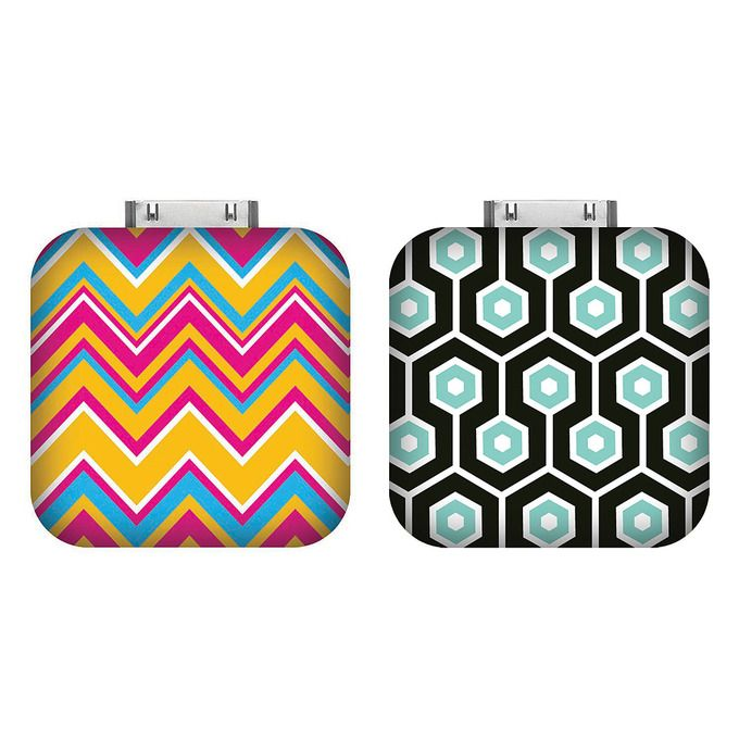 Check out these cool portable chargers for iPhones, iPods and iPads. Below the slick pattern lies a powerful little battery that will recharge your iDevice on the go.