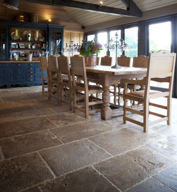 Medieval Bourgogne Limestone in a weathered finish. These limestone flagstones are virtually indistinguishable from reclaimed stone, with a genuinely time-worn look.