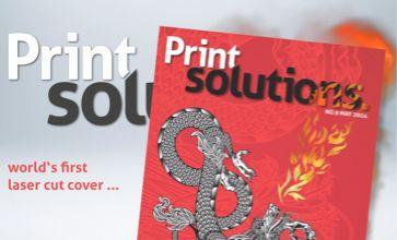 PrintSolutions Magazine #9/2014 – das weltweit erste Cover mit Lasercut und namecut® (gelaserte Namenspersonalisierung). Jedes Cover ist ein Unikat!