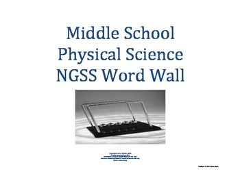 Science Word Wall MS Middle School PHYSICAL Vocabulary NGSS Aligned