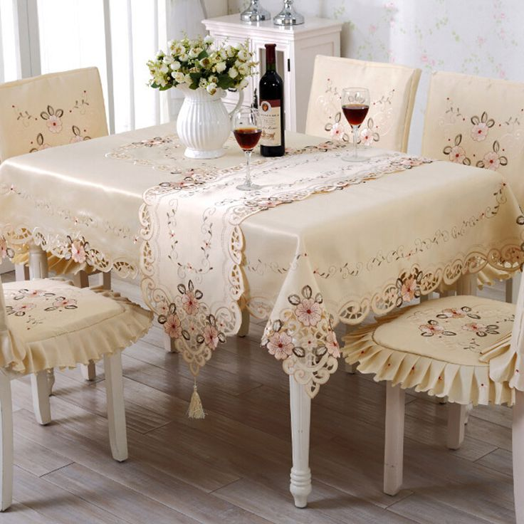 573 best images about dining rooms tablecloths chair covers on pinterest runners - Shabby chic dining room chair covers ...
