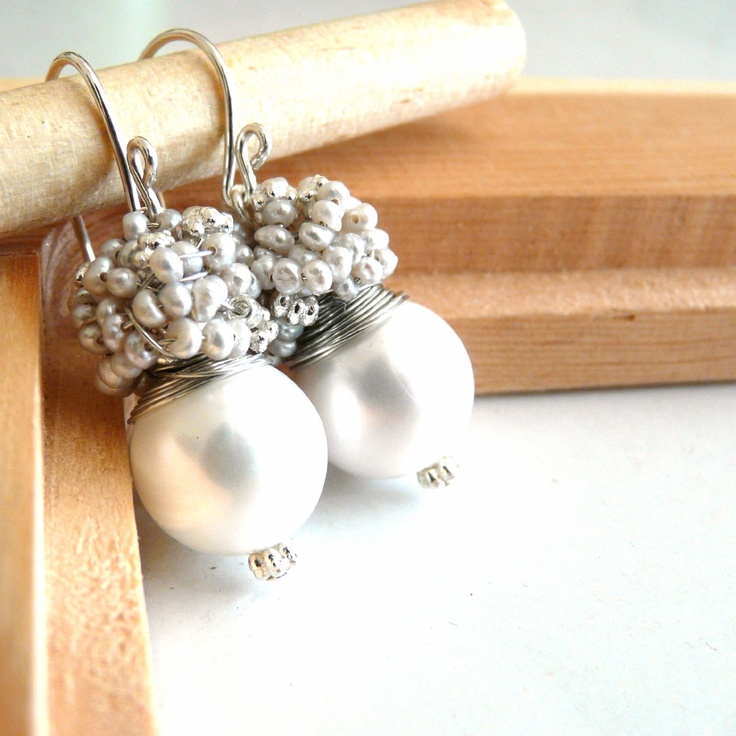 Wedding jewelry  - The Laurent in white- fresh earrings with white shell pearl and silver sea pearls. $29.95, via Etsy.