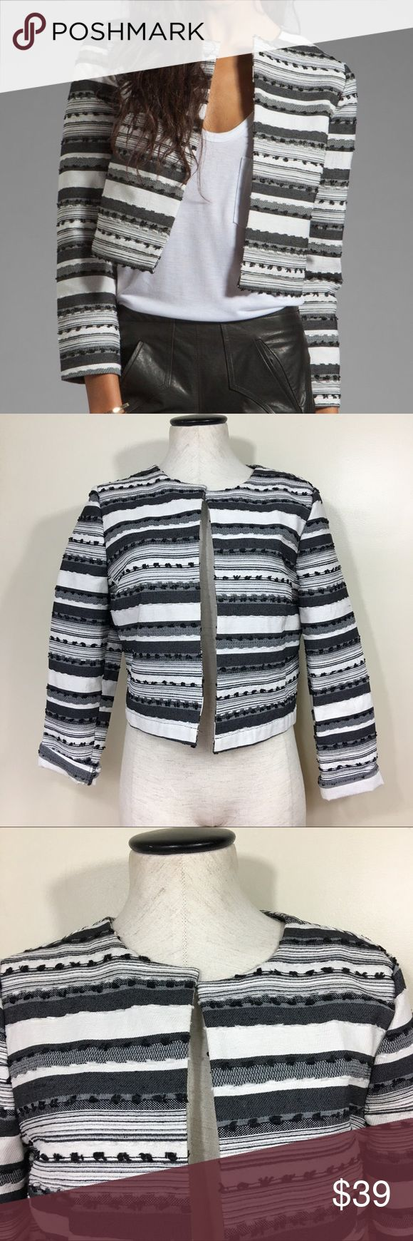 BB Dakota Jariah Striped Textured Crop Jacket Size 10 excellent condition. BB Dakota Jariah striped Textured crop jacket. Bust: 19inches. Should to hem: 19inches sleeve length 23inches unrolled. BB Dakota Jackets & Coats Blazers
